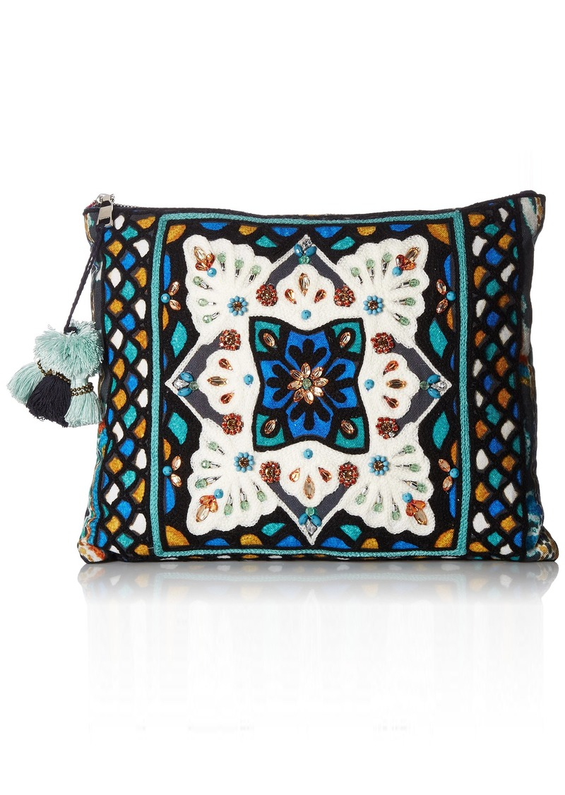 Steve Madden AVA Oversized Tribal Geometric Bohemian Fabric TOP Zipper Pouch Clutch blue