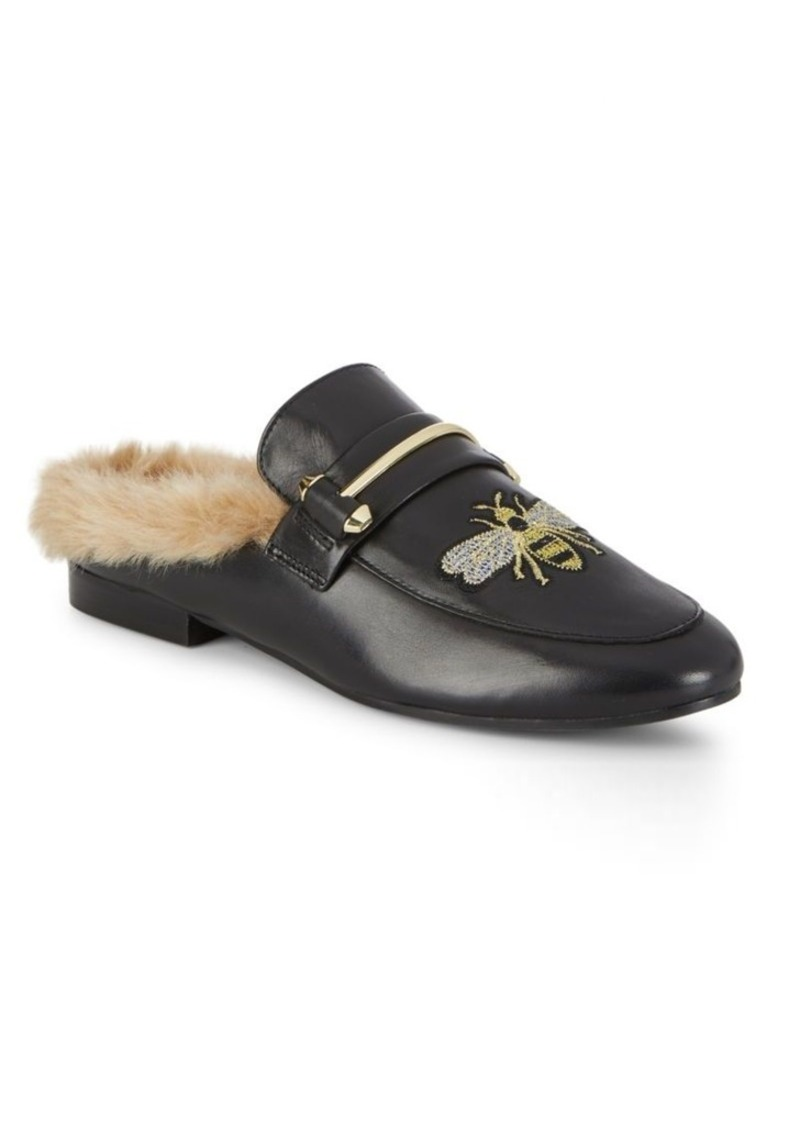 bb2f0180f89 Bee Faux Fur Leather Mules