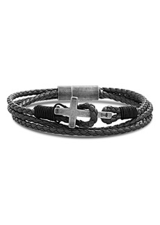 Steve Madden Braided Leather Cross Bracelet