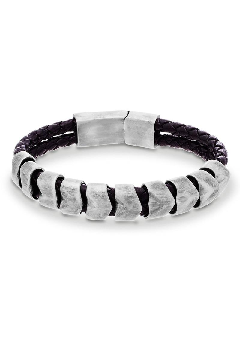 Steve Madden 'Braided Scale' Leather & Metal Bracelet