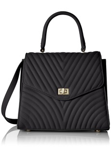 Steve Madden Coco Ladies TOP Handle Non Leather Satchel with Chevron Quilting black