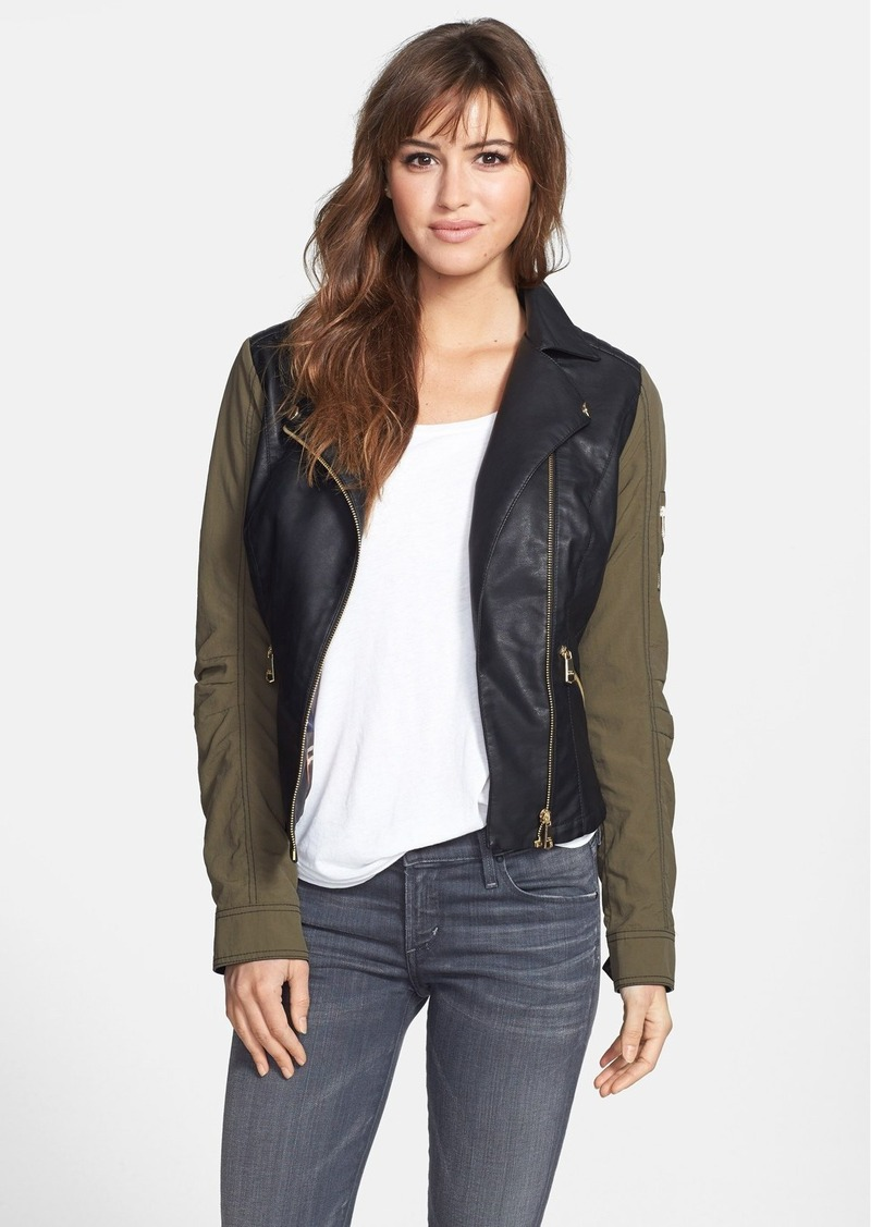 Steve Madden Contrast Sleeve Faux Leather Jacket