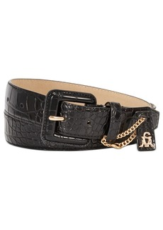 Steve Madden Croc-Embossed Buckle Belt With Charm