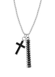 Steve Madden Cross & Ribbed Bar Pendant Necklace