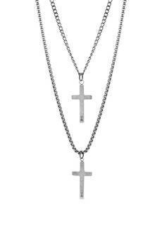 Steve Madden Cross Duo Pendant Necklace