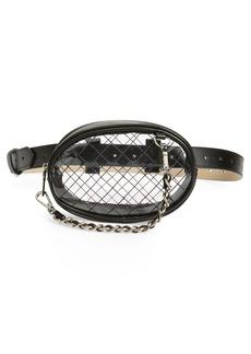 Steve Madden Diamond Quilted Clear Belt Bag