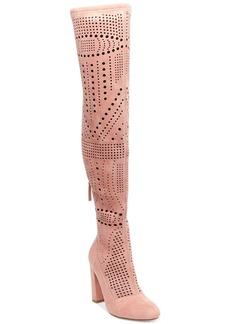 Steve Madden Eden Laser-Cut Block-Heel Over-The-Knee Boots
