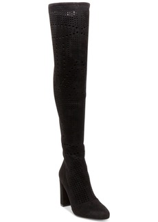 Steve Madden Eden Laser-Cut Block-Heel Over-The-Knee Boots Women's Shoes
