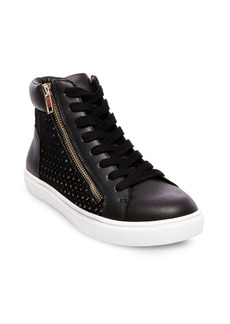 Steve Madden Elyka Leather Side Zipper Perforated Athletic Sneakers
