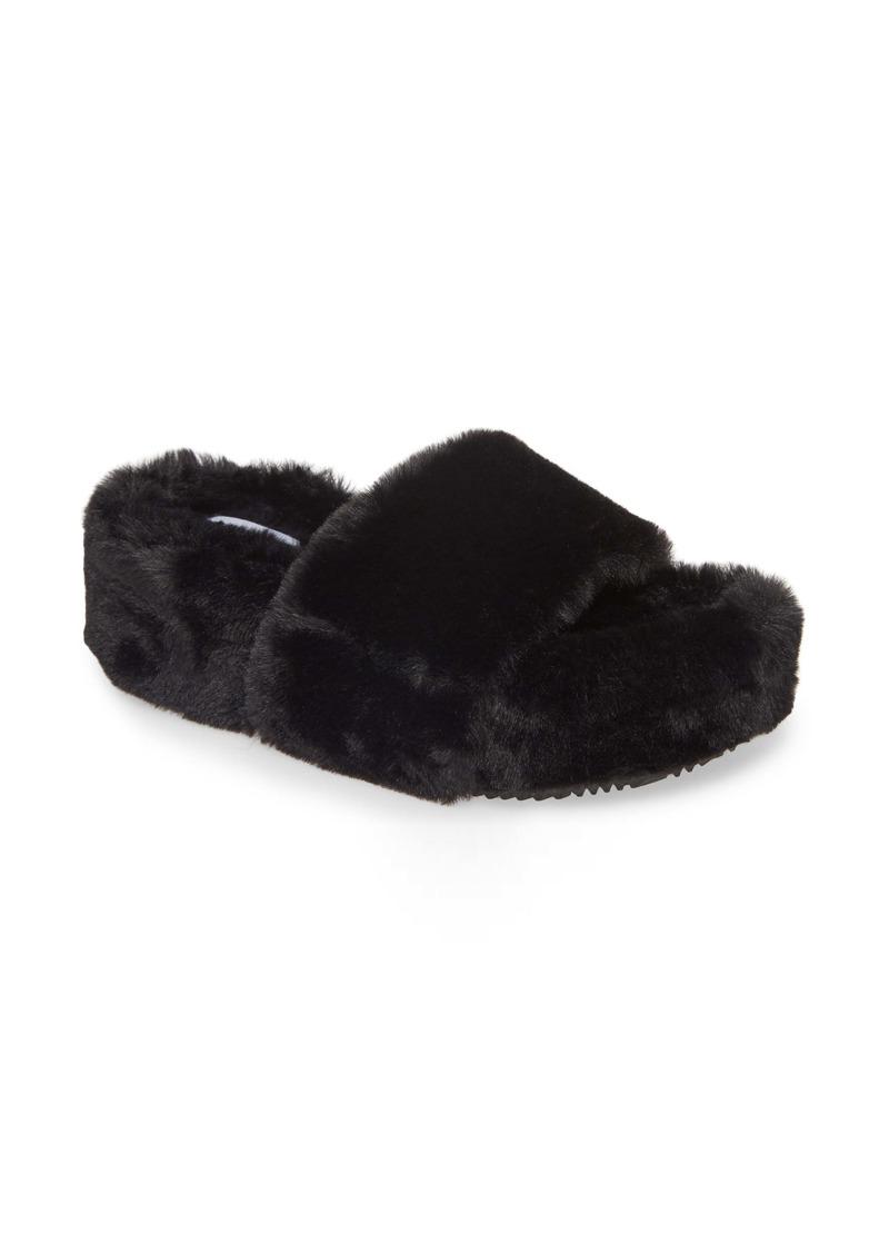 Steve Madden Fabfuzz Faux Fur Platform Slipper (Women)