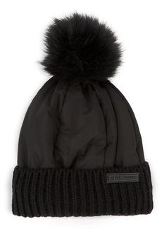 Steve Madden Faux Fur Pom Puffer Hat