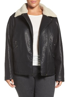 Steve Madden Faux Leather Moto Jacket with Faux Shearling Collar (Plus Size)