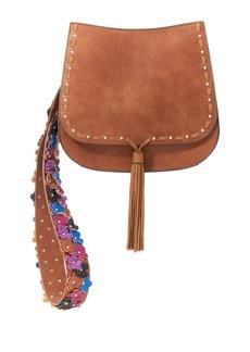 STEVE MADDEN Floral Applique Leather Boho Bag