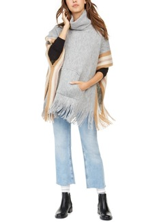 Steve Madden Fuzzy Striped Poncho With Pocket