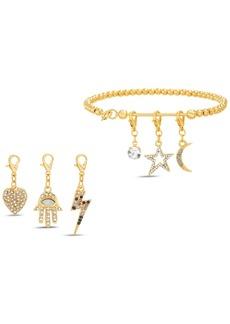 Steve Madden Gold-Tone Beaded Bracelet & Interchangeable Crystal Charm Set