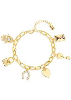 Steve Madden Gold-Tone Crystal Rolo-Link Charm Bracelet