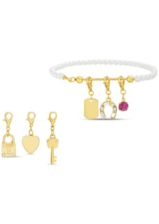 Steve Madden Gold-Tone Imitation Pearl Bracelet & Interchangeable Crystal Charm Set