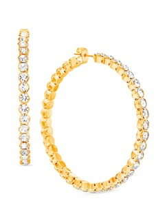 "Steve Madden Gold-Tone Large Crystal Hoop Earrings, 2.16"""