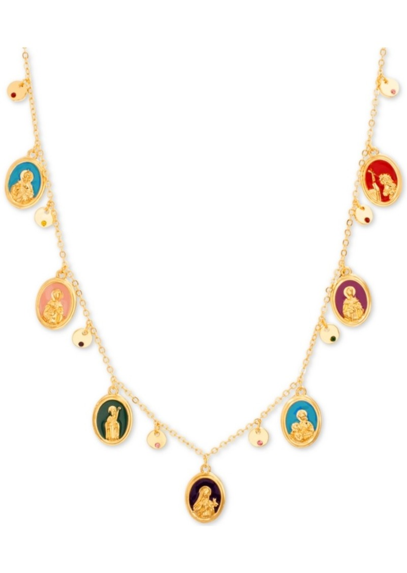 """Steve Madden Gold-Tone Multicolor Charm 15-1/2"""" Frontal Necklace"""