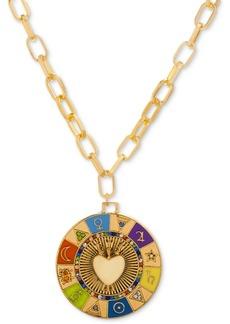 "Steve Madden Gold-Tone Multicolor Pave & Multi-Symbol Heart 15"" Pendant Necklace"