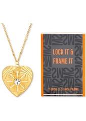 "Steve Madden Gold-Tone Pave Heart Locket Pendant Necklace & Photo Frame Gift Set, 24"" + 3"" extender"