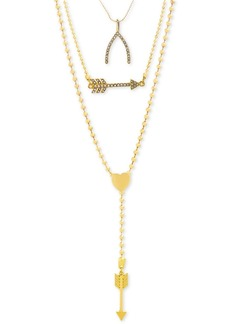 Steve Madden Gold-Tone Pave Wishbone & Arrow Convertible Layered Lariat Necklace