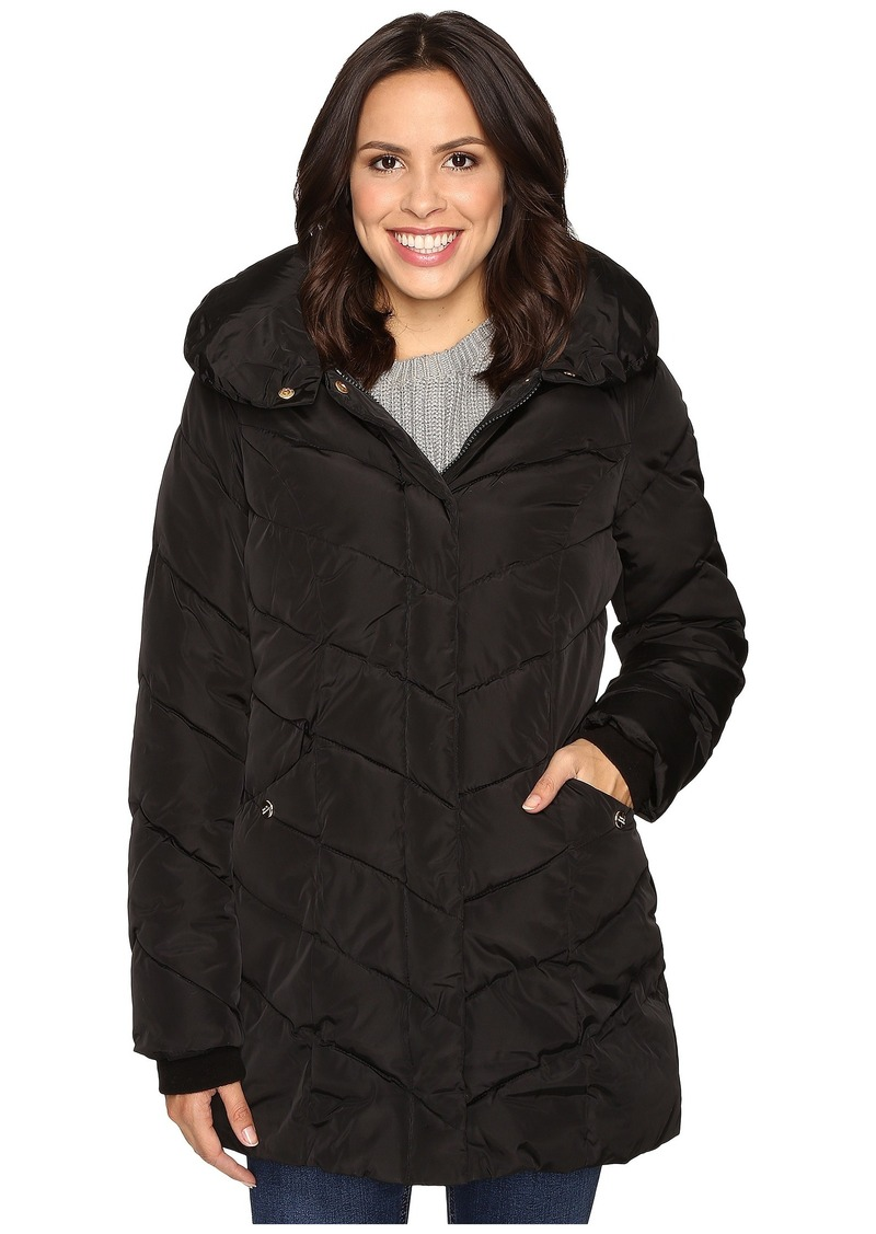 Steve Madden Hooded Chevron Puffer Coat