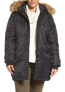 Steve Madden Hooded Parka with Faux Fur Trim (Plus Size)