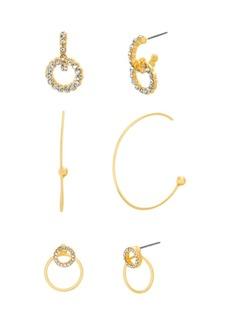 Steve Madden Hoop and Post Three Piece Earring Set