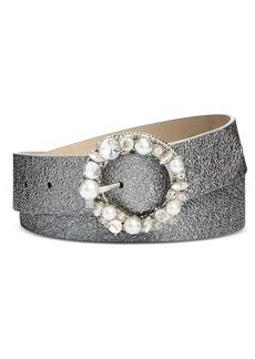 Steve Madden Imitation Pearl & Rhinestone Metallic Belt