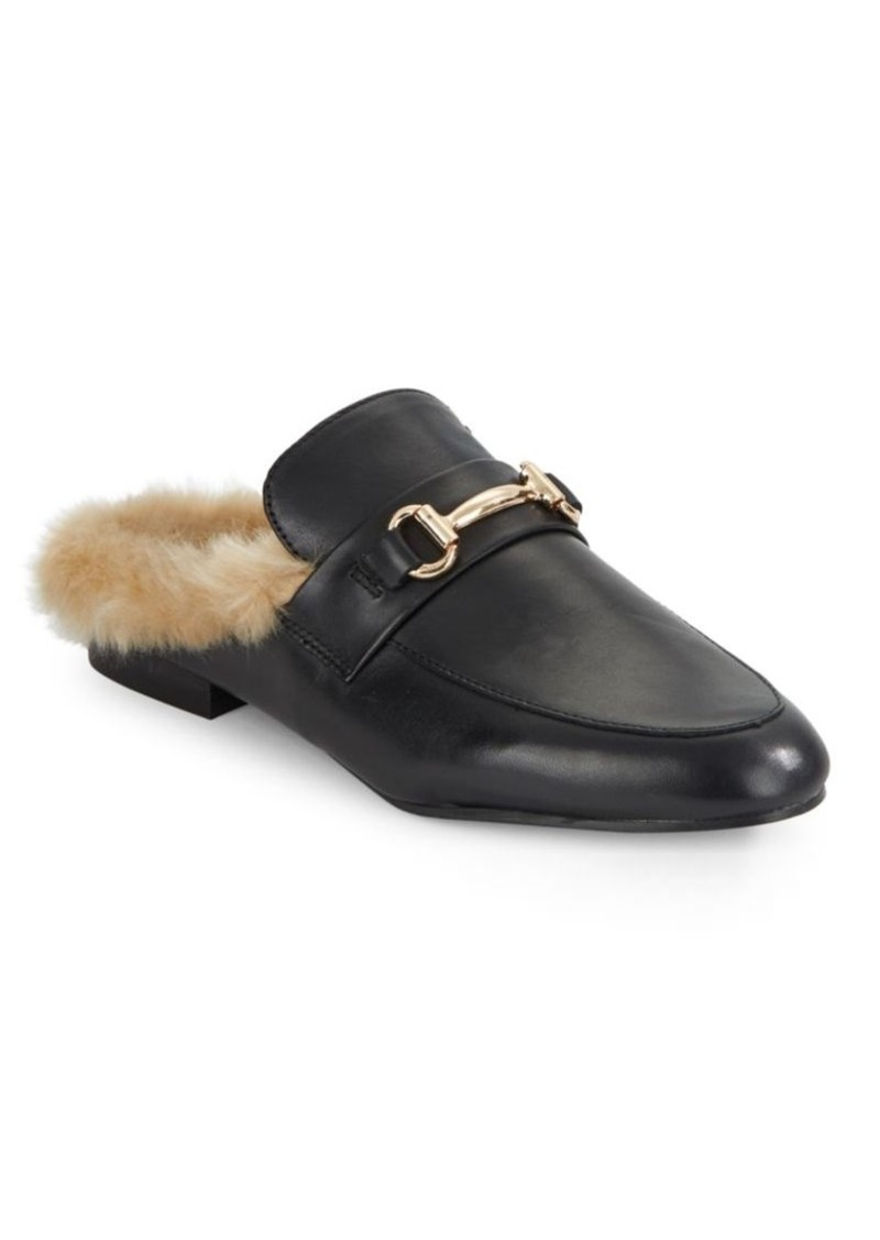 33b3f5ccb71 Jill Leather and Faux Fur Mules