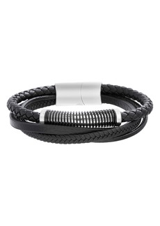 Steve Madden Leather & Stainless Steel Bracelet
