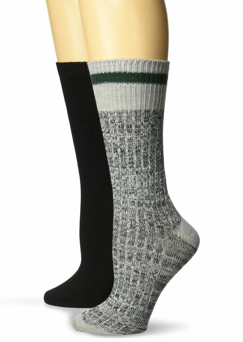 Steve Madden Legwear Women's 2PK Boot Sock SM42223 BLKHE