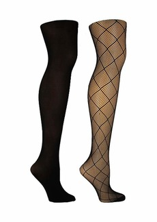 Steve Madden Legwear Women's 2PK Diamond Openwork and Solid Opaque Tight SM42403 black SM