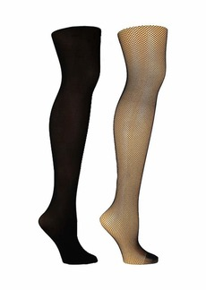 Steve Madden Legwear Women's 2PK Fishnet and Solid Opaque Tights SM42400 black SM
