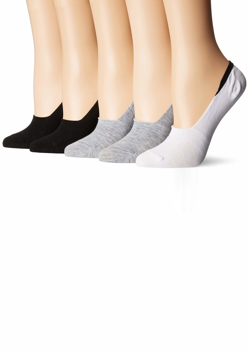 Steve Madden Legwear Women's 5 Pack Back Cuff Color with Gripper Footie black white and Heather Grey