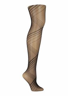 Steve Madden Legwear Women's Striped Open Work Tight SM32465 black SM