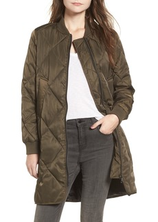 Steve Madden Long Street Water Repellent Puffer Bomber Coat