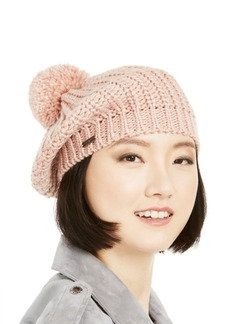Steve Madden Lurex-Knit Beret with Pom