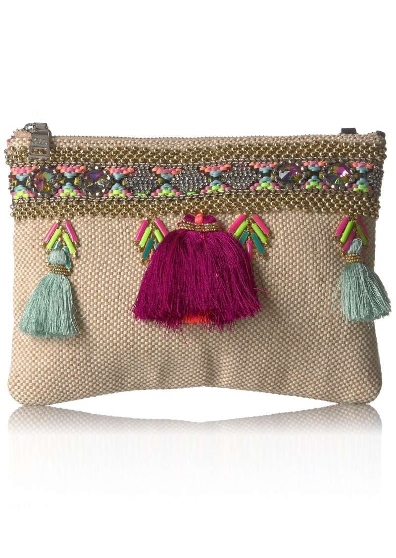 Steve Madden Marcia Tassels Embroidered Boho Fabric Clutch Crossbody multi