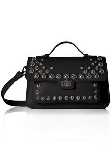 Steve Madden Mary Nonleather Frontflap Silver Studded Satchel Handbag