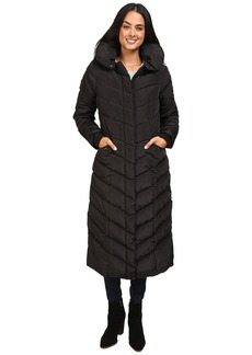 Steve Madden Maxi Hooded Chevron Puffer Coat