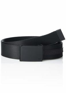 Steve Madden Men's Branded Fabric Belt with Matte  Buckle