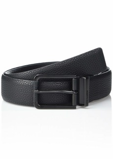 Steve Madden Men's Reversible Pebbled Stretch Belt with PU Tip and Rounded Hardware