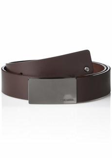 Steve Madden Men's Split Leather Plaque Buckle Belt with Rivets
