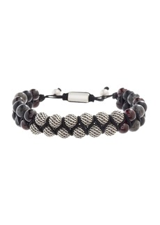 Steve Madden Men's Textured Ball, Labradorite and Garnet Beaded Bracelet
