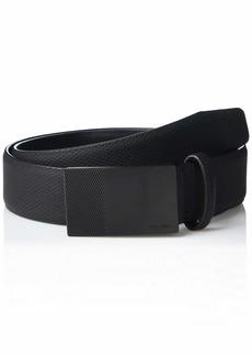 Steve Madden Men's Textured Belt with Plaque Buckle