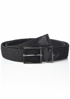 Steve Madden Men's Woven Stretch Belt with Gunmetal Logo Rivet Slider and Buckle