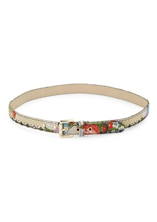 Steve Madden Multicolored Brocade Skinny Belt