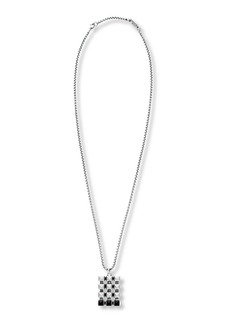 Steve Madden Onyx and Stainless Steel Pendant Necklace